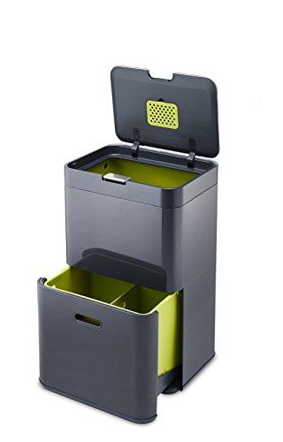 Joseph Joseph Totem Mülltrennung und Recycling-Systemeinheit, 48 L, Metall, 40 x 30 x 66 cm, graphit -