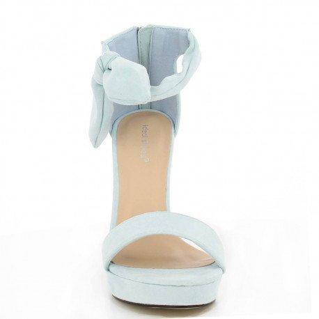 Ideal Shoes - Sandales à talon effet daim Gemma bleu ciel