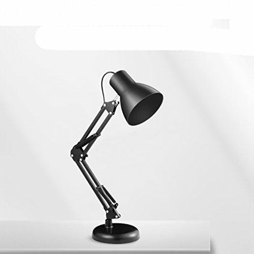 Led Schreibtisch Lampe Augenpflege Schlafzimmer Computer Schreibtisch College Studenten mit Langen Arm Arbeit Super Hell,Schwarz (Schreibtisch-lampen-college)