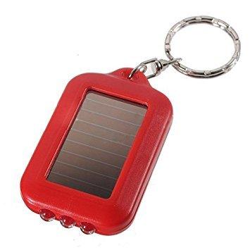 TOOGOO (R) 10X mini energia solar recargable 3LED llavero linterna antorcha Anillo Nuevo - rojo