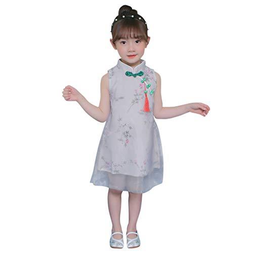 squarex  Mädchen Ärmelloser Rock Teen Grenadine Perlen Anhänger Kleid Kinder Prinzessin Kleid Baby Casual Rock Komfortable Outfits Set (Schöne Stirnbänder Für Teens)