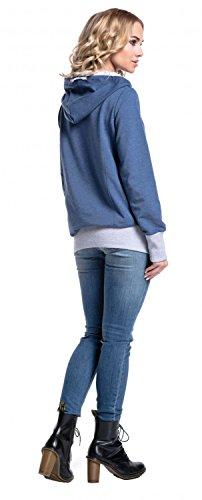 Glamour Empire. Damen Rollkragen Kapuzenpullover Langen Ärmeln . 340 Jeans Melange