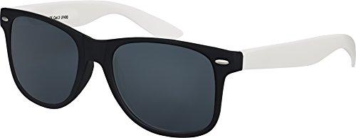 Balinco Hochwertige Nerd Sonnenbrille Rubber im Wayfarer Stil Retro Vintage Unisex Brille mit Federscharnier - 96 verschiedene Farben/Modelle wählbar (Hellgrau/Schwarz - Smoke)