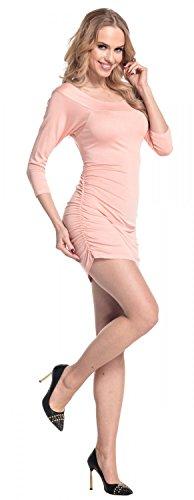 Glamour Empire Femme. Robe moulante fronces sur les côtés tunique top. 973 Abricot