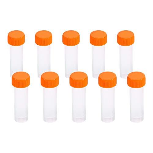 Laborröhrchen - 5 ml Gefrorene Reagenzgläser aus Kunststoff Fläschchen mit Schraubverschluss Verpackungsbehälter mit Silikondichtung, 10er-Pack