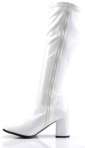Buckle Shoes BS12733 Damen Schuhe, Retrostiefel, 1960er und 1970er, Weiß - weiß - Größe: EU 37 (Weiße Kniehohe Go-go-stiefel)