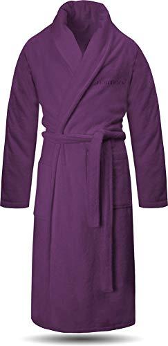 normani 100% Baumwoll Bademantel Saunamantel zweifarbig und einfarbig mit und ohne Kapuze für Damen und Herren [Gr. XS - 4XL] Farbe Aubergine Größe S