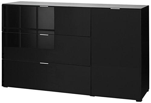 CS Schmalmöbel 45.102.507/035 Highboard Cleo Typ 15, 163 x 50 x 99 cm, schwarz / schwarzglas