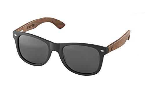 Hillbilly-Tools The Glasses - Bambus Sonnenbrille für Männer und Frauen mit Holzbügeln-polarisiert-UV400 Schutz,inklusive Tasche (Schwarz, Grau)