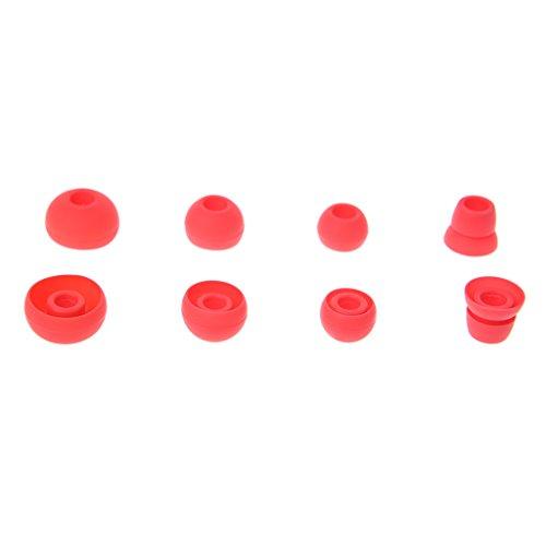 Autone 4Paar Silikon Ohrhörer Tipps ersetzen für Beats Powerbeats 2/3Wireless Kopfhörer, 3Paar X Kopfhörer Ohrstöpsel + 1Paar X Doppel Flansch Ohr Spitze, Rot (P Blau Bluetooth-kopfhörer)