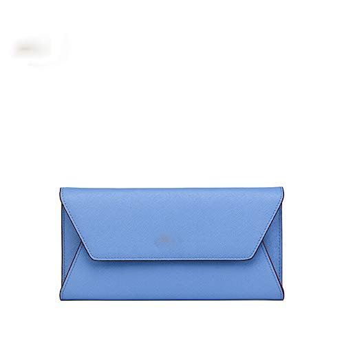 Cross-grain-leder (Cross Grain Leder Wilde Umschlag Brieftasche Damen Lange Brieftasche-Blue)