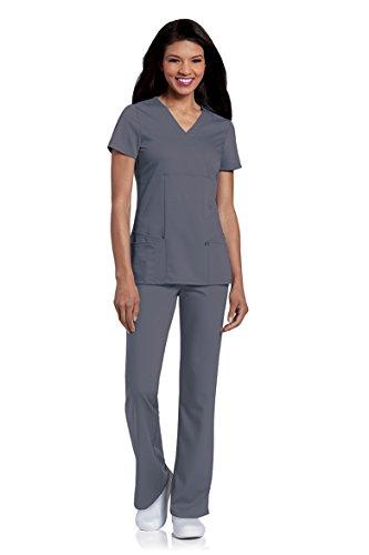 Landau Urbane Women's Silky Soft Ashley 4-Pocket Stretch Mock Wrap Scrub Top, Steel, 3X-Large -