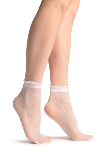 Small Polka Dots And Rounded Trim Top White Socks Ankle High 15 Den - Weiß Socken Einheitsgroesse (37-42)