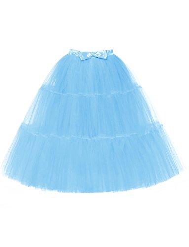 DYSS Donne '50 tulli sottoveste con l'arco sottoveste scivola la crinolina balletto bolla abito lungo Blu