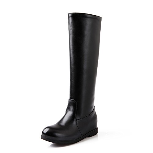 QIN&X Donna punta tonda tacco piatto interno medio di aumento stivali scarpe di grandi dimensioni Black