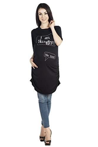 Blush 9 Maternity Women's Maternity Black Tunic I'm Hungry_medium