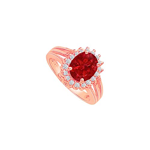 Ruby and CZ Split Shank Halo Engagement Ring 2 CT TGW - Cz Ring Engagement 2ct