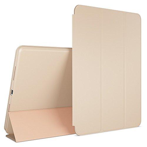 Apple iPad Pro 9,7 Hülle Smart-Case von NALIA, Ultra-Slim Cover Dünne Tablet Schutzhülle, Kunst-leder Hardcase Multi-Ständer Tasche, Display-Schutz & Backcover Flip-Case Klapphülle Sleeve - Beige Grau
