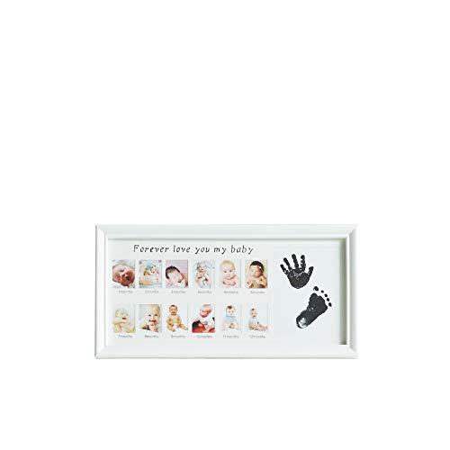 Cadre photo avec empreintes de pas pour les bébés, 12 mois Cadre photo et conservez les empreintes de mains ou les pieds des enfants et des bébés, mur et table, cadeau parfait pour bébé (Blanc)