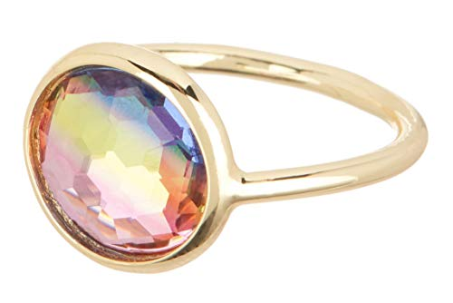Gemaholique Dyed Quartz 18k Gold Clad Candy Ring (T 1/2)