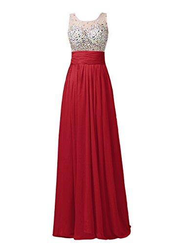 Dresstells, Robe de cérémonie Robe de soirée mousseline forme empire longueur ras du sol emperlée Rouge Foncé