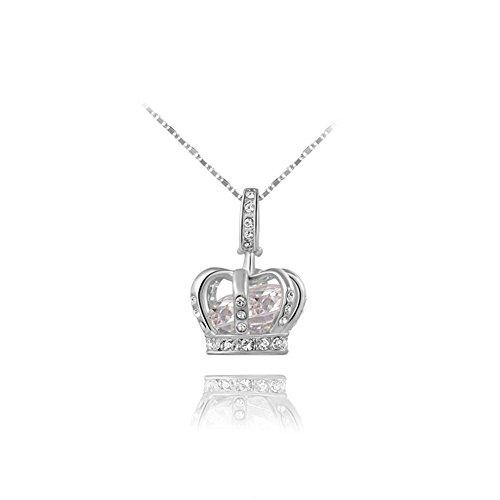 Yeahjoy charm da donna, ciondolo a forma di corona da principessa collane intarsiato cristallo collane, (Shiny Silver Beads)