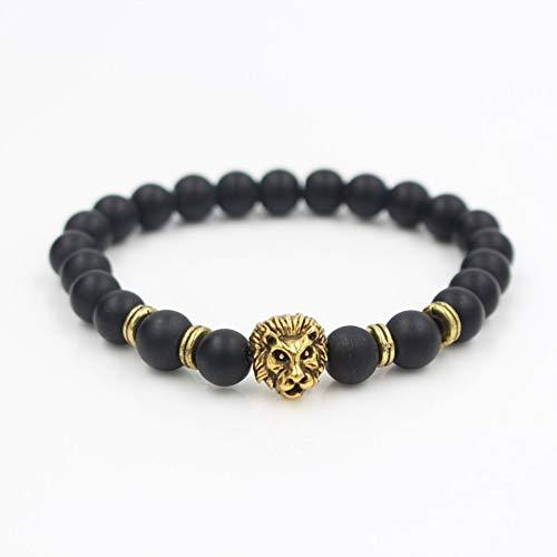 ZKZDSL Armband,Fashion Vintage Rose Farbe Gold Lion\'s Head Tube Charme Natürliche Marmor Stein Perlen Armband Schmuck Männer Frauen Geschenk Schwarz