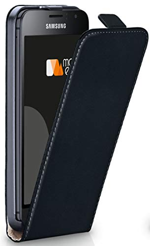 MoEx® Flip Case mit Magnetverschluss [Rundum-Schutz] passend für Samsung Galaxy J1 (2016)   360° Handycover aus feinem Premium Kunst-Leder, Schwarz
