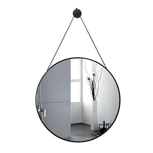 Miroirs Fer Forgé Salle De Bains Tenture Murale Nordic Maison Maquillage Suspendu Chaîne Rond (Color : Black, Size : 50 * 50 * 3cm)