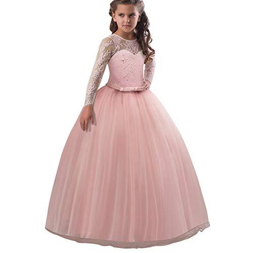 (Frashing Mädchen Langarm Kleid Party Hochzeit Prinzessin Kleid Stickerei Prinzessin Festzug Kleider Abschlussball Ballkleid Blumenmaedchenkleid 5-9 Jahre)