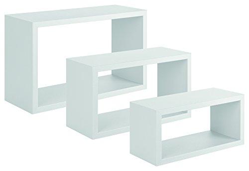 Sanitec trittico mensole da parete, legno, bianco, 15.5x45.0x27.0 cm, 3 unità