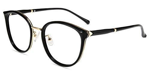 Firmoo Panto Anti Blaulicht Brille ohne Sehstärke Damen, Blaulichtfilter Computer Brille Herren Retro Nerdbrille Blaulichtblockierend Blendfrei Runde Gläser Brille (52-20-145, Schwarz)