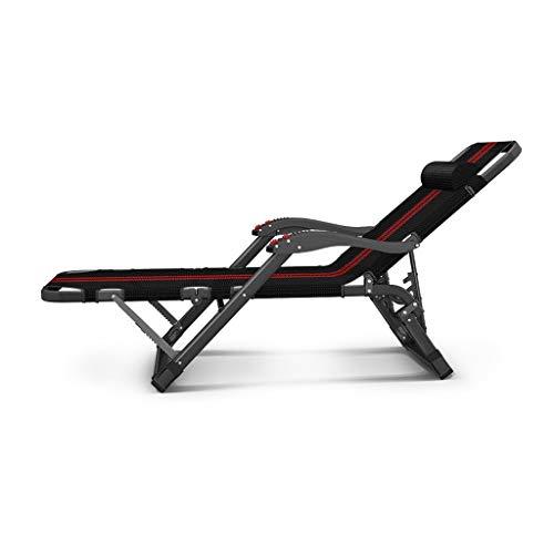 Klappbett in Schwarz-Oxford-Rot mit Streifen, rutschfestes Bett mit schwarzer Metallklammer, hochintensiver Stuhl für die Mittagspause im Büro zu Hause