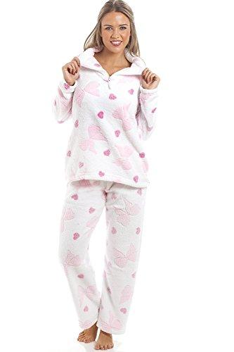 Camille - Schlafanzug aus extra-weichem Fleece - lange Ärmel & Hose - rosa Schleifen- & Herzen - Weiß 46/48 (Herz-fleece Pyjama-hosen)