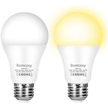 Bombilla Sensor Crepuscular LED E27 Sensor de Luz 12W Equivalente 100W 3000K 2Unidades