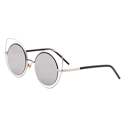 Eizur occhio di gatto occhiali da sole rotondi vintage occhiali da sole estate art donna occhiali specchio lente piatta con fall per donna 6colori opzionale, silber + silber