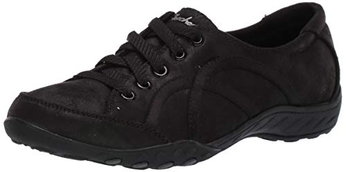 Skechers Damen Breathe-Easy-Well Read Slip On Sneaker, (Black Micro Leather/Trim Blk), 5 EU Trim Slip-ons