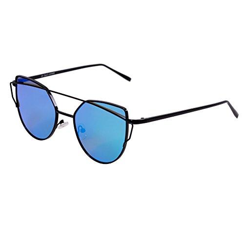 Designer Sonnenbrille Katzenaugen für Damen Vintage Aviator UV400 (5 - Black Frame - Ice Blue)