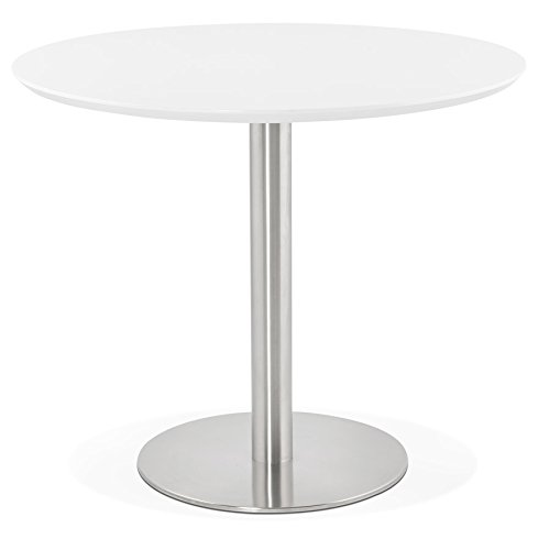 Alterego Petite Table de Bureau/à Diner Ronde 'Indiana' Blanche - Ø 90 cm