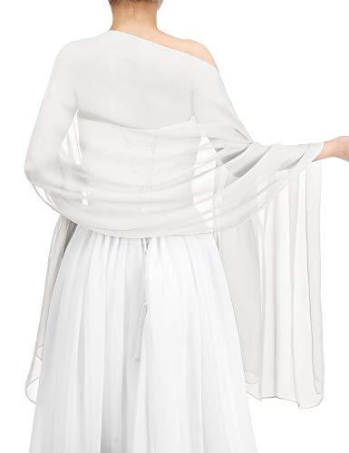 bbonlinedress Schal Chiffon Stola Scarves in verschiedenen Farben White 200cmX75cm - Chiffon Weiß