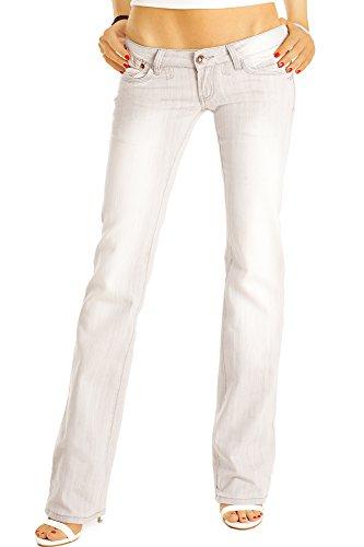 bestyledberlin Damen Boot-Cut Jeans, Stylische Damenjeans, Hüftjeans j37a-grau 40/L