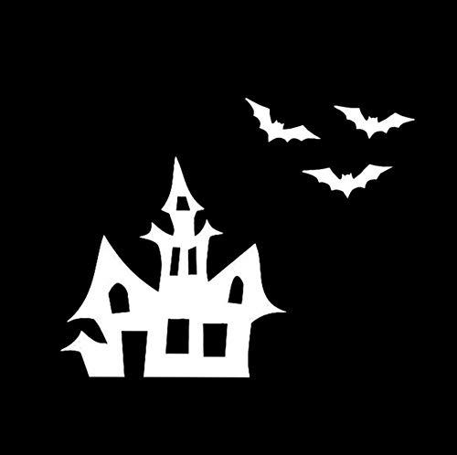 Autoaufkleber 12,9 * 10,2 Halloween Scary Bats Haus Baum Vinyl Party Horror Decor Auto Modellierung Aufkleber Zubehör 2 Stück (Modellierung Von Bäumen)
