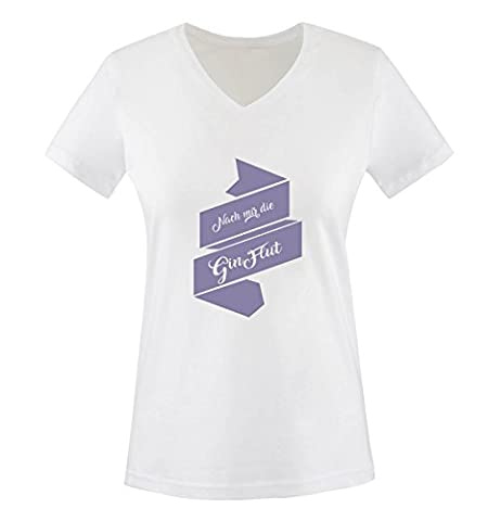 Comedy Shirts - Nach mir die Gin Flut - Damen V-Neck T-Shirt - Weiss / Violett Gr. XXL (Beste Tv-preise Nach Weihnachten)