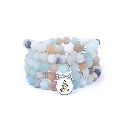 Art- und Weisefrauen `s Armband Matte bereifte Amazonite-Korne mit Lotus OM Buddha Charme-Yoga-Armband 108 mala Halskette dropshipping (Buddha)