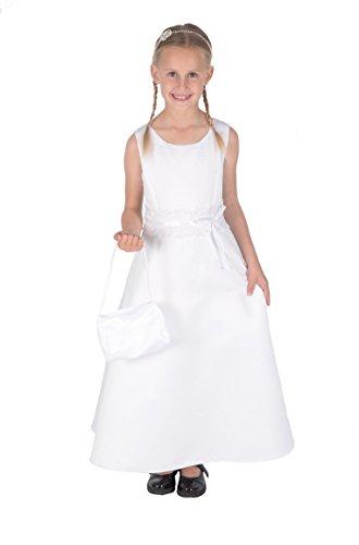 Cinda Mädchen Brautjungfer / Heilige Kommunion Kleid- 134-140 (9-10 Years), weiß mit Handtasche