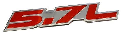5.7L Liter in RED on SILVER Highly Polished Aluminum Car Truck Engine Swap Nameplate Badge Logo Emblem for Toyota Tundra Sequoia V8 Chevy 350 Tahoe Suburban 1500 Camaro Impala Caprice SS Corvette Z06 LS1 LS6 Dodge Challenger Charger Magnum RT HEMI Ram Durango Cadillac CTS-V CTS Chrysler 300 C300 Pontiac GTO Trans Am LT1 GMC Sierra Yukon XL Pick Up