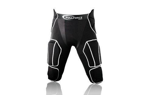 Full Force American Football Herren Hose 7 Pocket mit 7 eingenähten Pads, schwarz, Gr. M