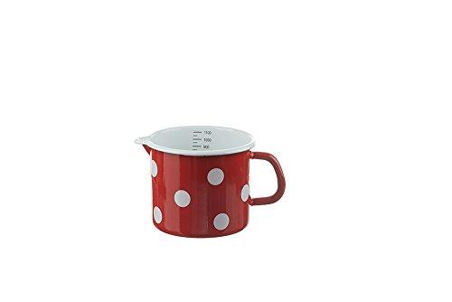 Münder Emaille - Milchtopf, Schnabeltopf aus Emaille - 1,1 Liter - Farbe: Rot mit weißen Punkten - für alle Herdarten