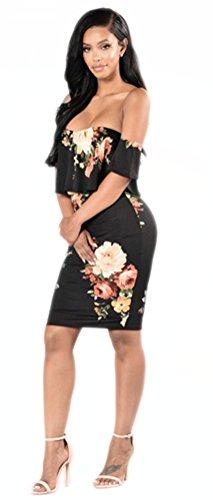 Blansdi Damen Elegant Strand Sommerkleid Schulterfrei Blumen Druck Bodycon Knielang Cocktail Clubwear Partykleid Bleistiftrock Cut-out Schwarz