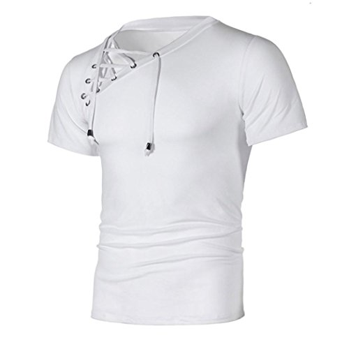 T-Shirts,Honestyi 2018 Neueste Modell Frühling Sommer Mode Persönlichkeit Bandage Herren Beiläufig Schlank Kurzarm Hemd Einfarbig T-Shirt Top Bluse Sweatshirt Oversize M-XXXL (M, Weiß)